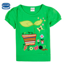 Summer cotton kids t shirt nova baby clothes embroidery girls tops cheap retail kids t shirts wholeale polka dot tee for child(China)