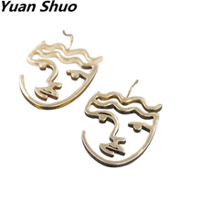 Europe and the United States new fashion exaggerated texture face shape abstract funny hollow doublesided earrings female(China)