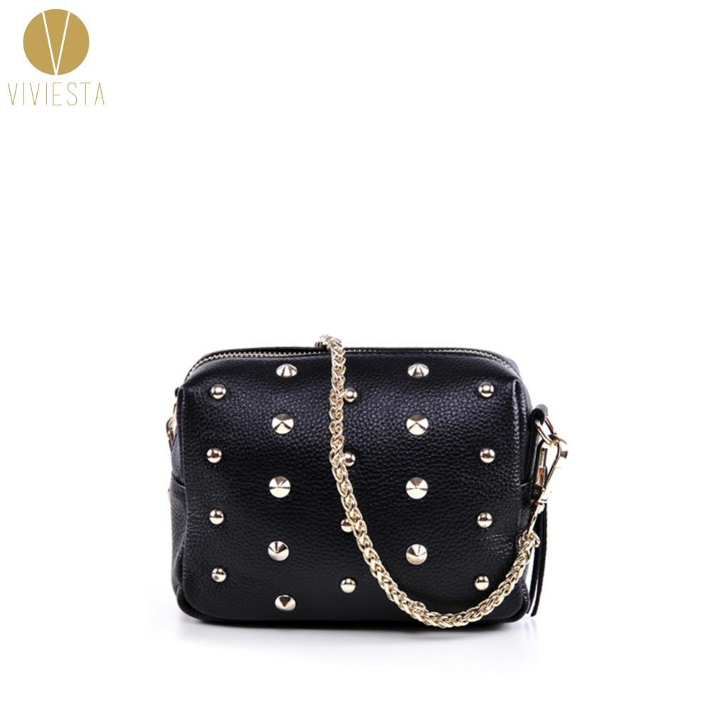 GENUINE REAL LEATHER STUDDED CROSSBODY CHAIN BAG - Womens Vintage Small Black Rivet Spike Stud Crossbody Shoulder Purse Handbag<br>