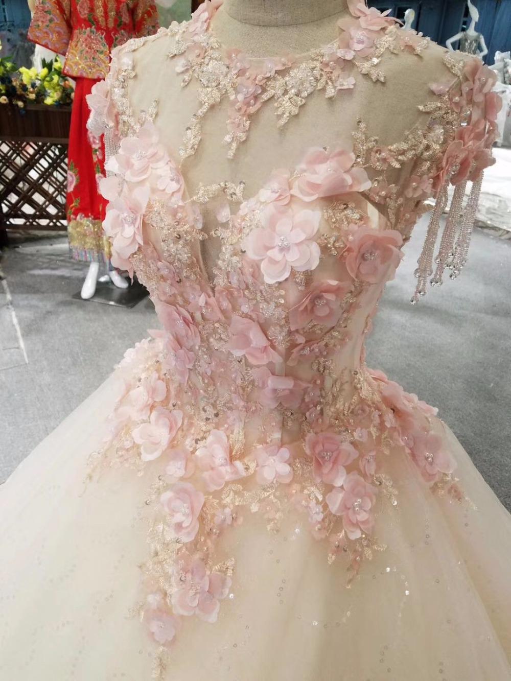 bride dress princess floor length pink leaves crystal tassels shoulders