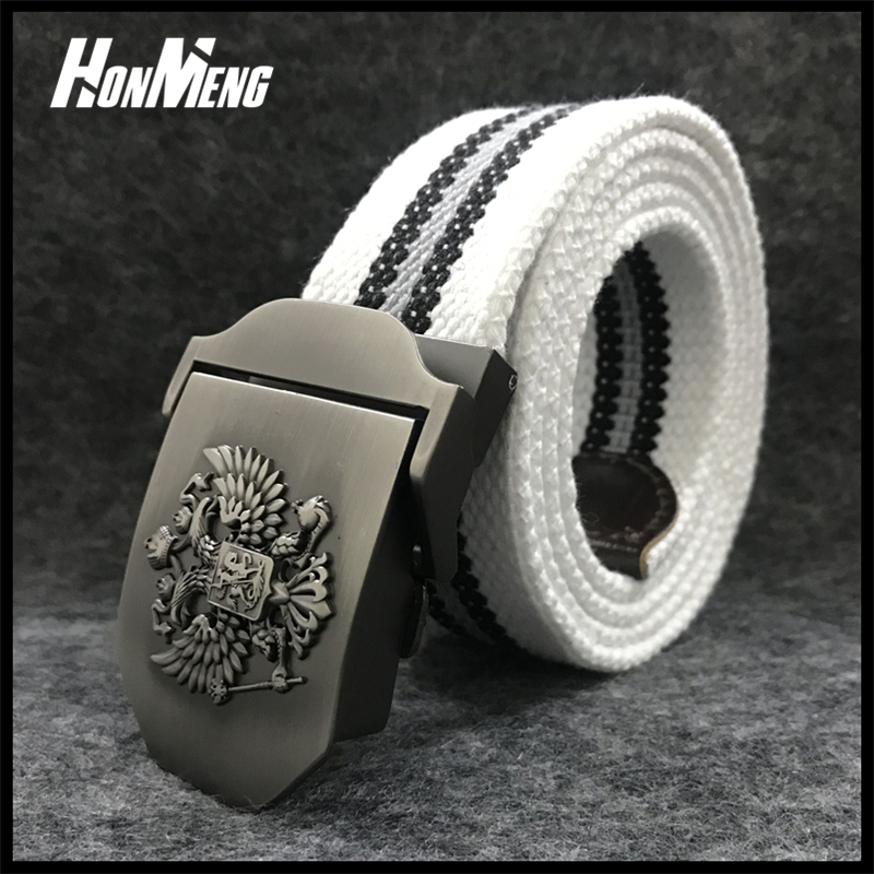 HONMENGUnisex Russian National Emblem Canvas Tactical Belt High Military Belts Mens & Women Patriot Jeans Belt