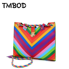 New 2017 Designer Colorful Rainbow Drawstring Bag PU Leather Handbags Women Ladies Shoulder Messenger Crossbody Bags an187