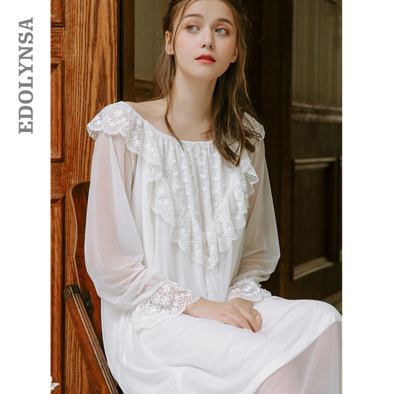 2019 Spring Vintage Sleepwear Women Night Wear Home Dress Lace Ruffled Round Neck Long Sleeve Cotton Nightgown Nightdress T416