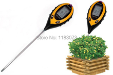 4in1 Soil Ph Meter 4in1 Plant Flowers Soil Survey Instrument PH Value Temperature Moisture Sunlight Tester With Green Backlit(China)