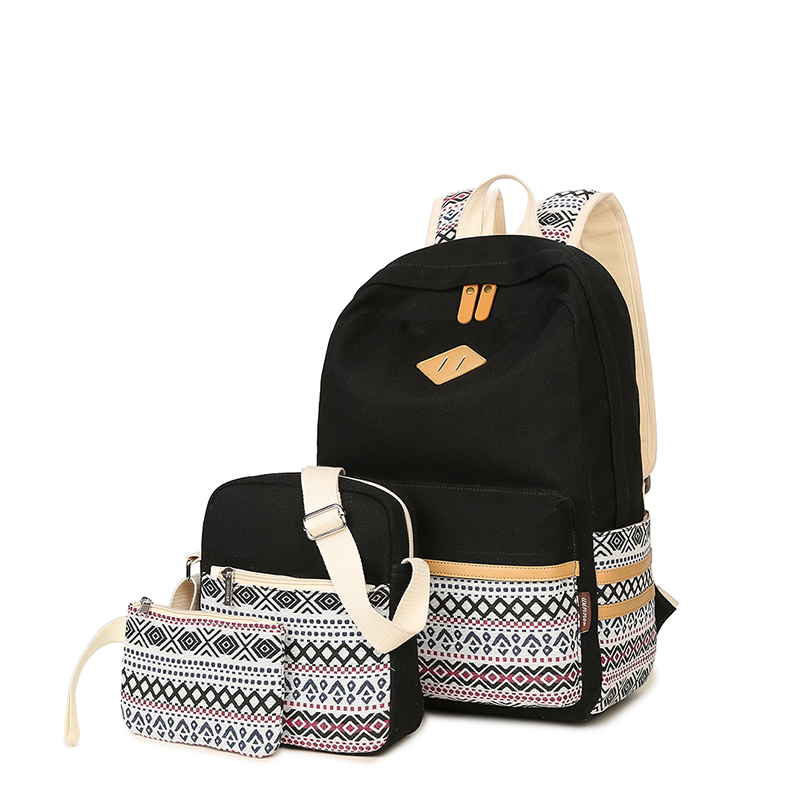 3pcs Canvas Fashion Backpack Bag For Teenager Girls Women School Bag Mochil Portfolio Knapsack Rucksack Book Bag Pink Black Blue<br>