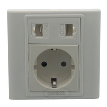 2 X RJ45 EU AC power wall plate and support DIY(China)