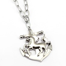 High Quality 1  horse& anchor  pendant necklace Fashion rock style   Long Chain men jewelry