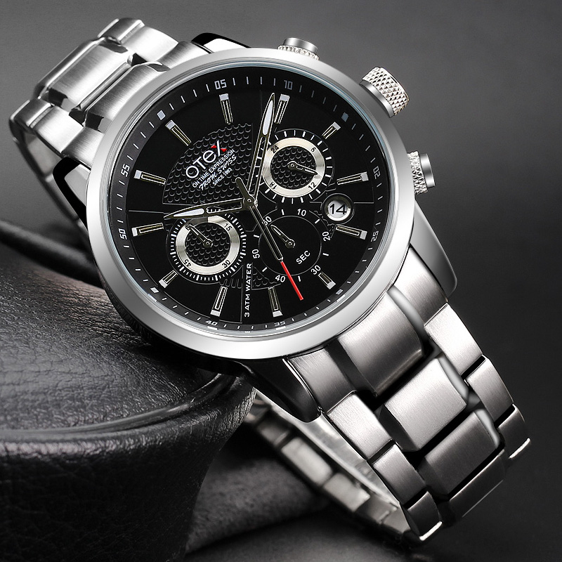 Mens luxury Stainless steel wristwatches male brand watches quartz man clocks waterproof  fashion Business luminous calendar<br>
