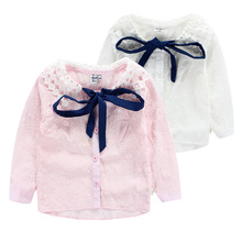 2-7 Years Kids Girls Lace Blouse Pink White Long Sleeve Cotton Shirts For Little Girl Turn Down Collar Clothing 2015 New Arrival(China)