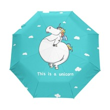 2017 New Fashion Cute Unicorn Creative Sunny and Rainy Black Coating Good Quality Sunscreen Folding Umbrella for Children Gift(China)