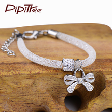 Lovely Bow White Mesh Charm Bracelets Bangles Cute Resin Crystal Children Bracelet For Kids Girls Gift Fashion Jewelry