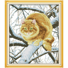 The Fat Cat on the Tree Counted Cross Stitch Handmade 11CT 14CT Cross Stitch Sets animals Cross-stitch Kit Embroidery Needlework