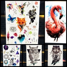 Fashion Owl Temporary Tattoo Women Makeup Tip Body Art Tattoo Arm Sleeve Wall Sticker 21x15CM Large Waterproof Fake Tattoos Owl(China)