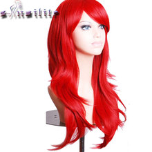 "S-noilite 24"" 60cm Long Layer Women Hair Wig Cosplay Costume Party Full Wigs Pink Red Orange Synthetic Hairpiece(China)"