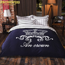 royal blue crown nordic bedding set 4pcs duvet/doona cover bed sheet pillow cases queen double full size bed linen