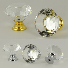 30mm 40mm clear glass crystal drawer bookcase tv table shoe cabinet knobs pulls silver gold kitchen cabinet cupboard door handle