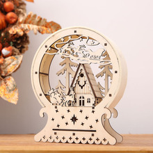 Cute Luminous Cabins Gift Creative Christmas Decorations Wood House Table Decor Christmas Ornaments For Home natale navidad 2017(China)