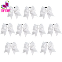 White Color 10Pcs/lot Boutique Rhinestone Cheer Bows Large Hair Bows With Elastic Ties For Cheerleading Girls