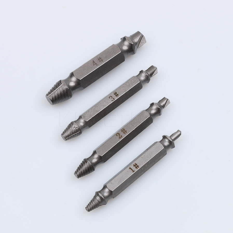 4PCS/Set Double Side Damaged Screw Extractor Drill Bits S2 Alloy Steel Out Remover Bolt Stud Tool Kit 1# 2# 3# 4#<br><br>Aliexpress