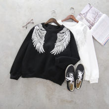 2017 Long Sleeve O Neck Women Cotton Sequined Angel's Wings Hoodies Fashion Pullovers Black White Quality Guarantee ZH001