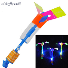Abbyfrank 20Pcs/lot Flying Toys LED Arrow Rocket Flashing Rocket Helicopter LED Slingshot Arrow Copter Toy Crossbow Outdoor(China)