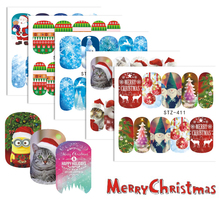 1 Sheets Xmas Series Nail Water Sticker Snow Flower Santa Claus Socks Decals Nail Art Decorations Christmas Tips CHSTZ405-418