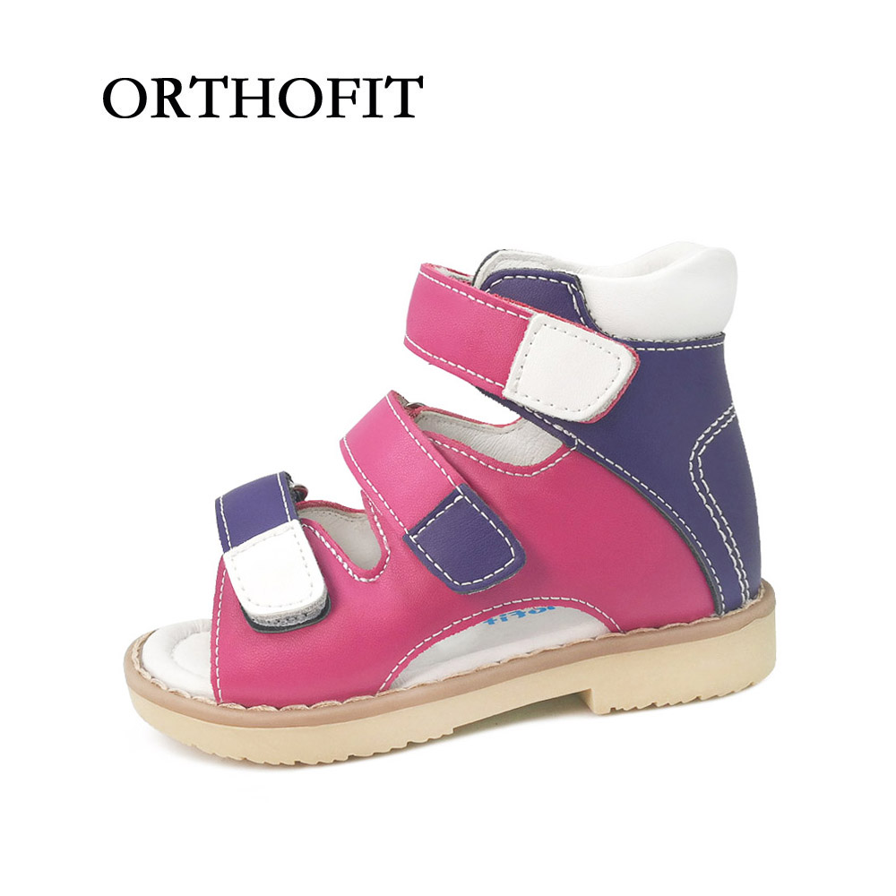 Mixed Color Simple Girls Orthopedic Sandals Children Genuine Leather Shoes Kids Summer Shoes<br>