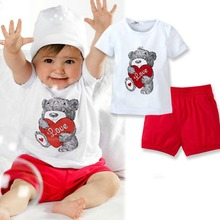 2pcs Set Baby Girl Kids T-shirt Short Sleeve Top Pants Heart Bear Outfit Clothes Set 0-3 Year