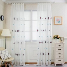 Free shipping Girl linen Cartoon embroidered sheer bedroom window children star tulle READY kid modern curtain MADE curtains