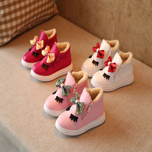 Sale 1 Pair/lot Winter Cotton Boots/Winter Cotton Boots/ Butterfly Knot Children Thickening Snow Boots AXZ0170