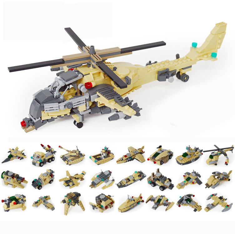 2018 Special forces Land Warrior hero changeable Military vehicles 8in1 armed helicopter building block brick toys for kid<br>