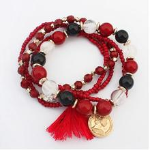 Atreus Hot 5 Colors Bohemian Charm Bracelet Crystal Acrylic Nature Stone Wrap Bracelets For Women Fashion Jewelry Boho Bangles(China)