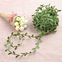 Silk Nature Green Artificial Leaf Leaves Vine Wedding Decoration Foliage Scrapbooking Craft Wreath Fake Flowers 10Meter CP0679(China)