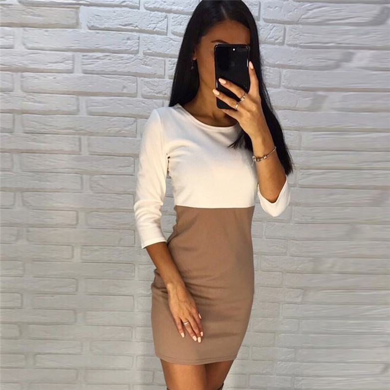 Fall Dresses 2017 New Arrival Women Fashion Bodycon Sexy Knitted Dresses Autumn Winter Three Quarter Sleeve Casual Mini Dress