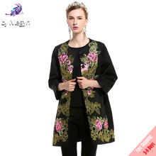 Free DHL UPS 2017 High Quality Newest Fall Winter Runway Designer Coat Women's Autumn Flower Sequined Embroidered Black Coat(China)