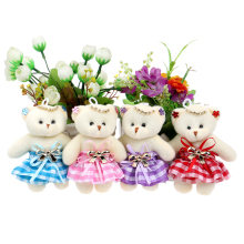 2017 New Design Flower Bouquets Material Teddy Bears Mixed 4 Color Chain Diamonds Bow Plush Toys With Dress Toy