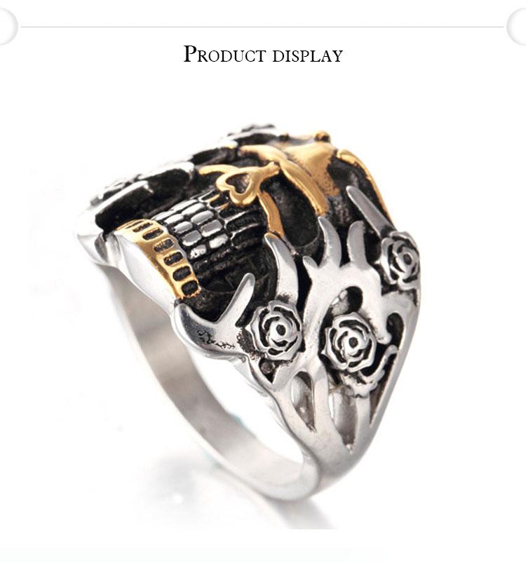 แหวนโคตรเท่ห์ Code 003 แหวนกะโหลกดอกไม้ Biker 1