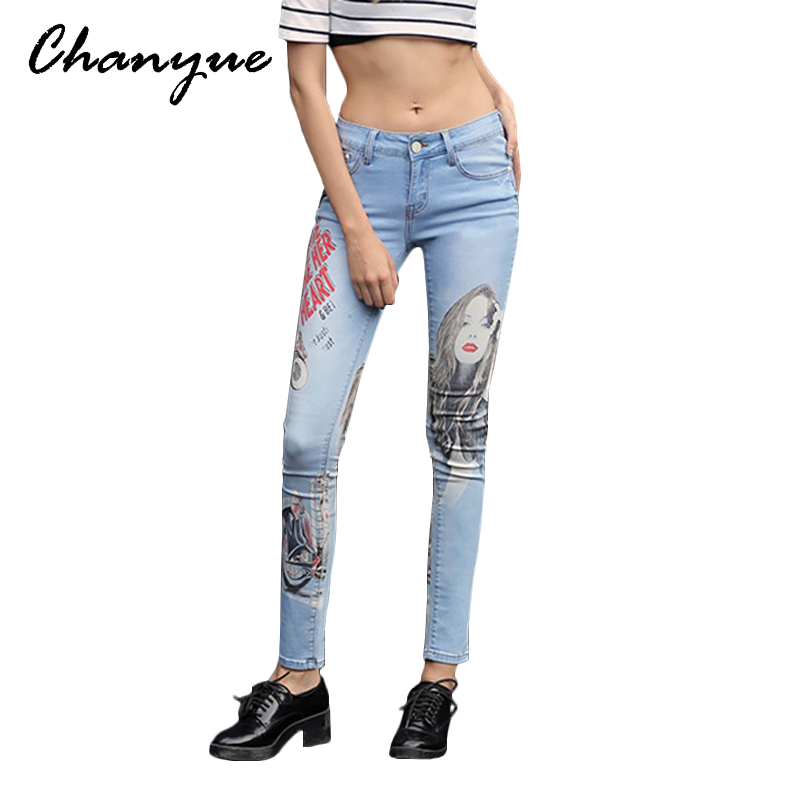 Chanyue Spring Girl Print Mid Waist Jeans For Women Big Size Boyfriends Denim Pencil Trousers Femme Pants American ApparelОдежда и ак�е��уары<br><br><br>Aliexpress
