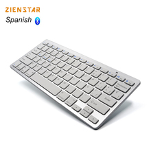 Zienstar Spanish Language Ultra slim Wireless Keyboard Bluetooth 3.0 for ipad/Iphone/Macbook/PC computer/Android tablet(China)
