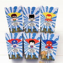 6pcs/lot Superhero Avengers superman batman Kids Birthday Party Supplies Popcorn Box case candy Box Favor Accessory AW-0910