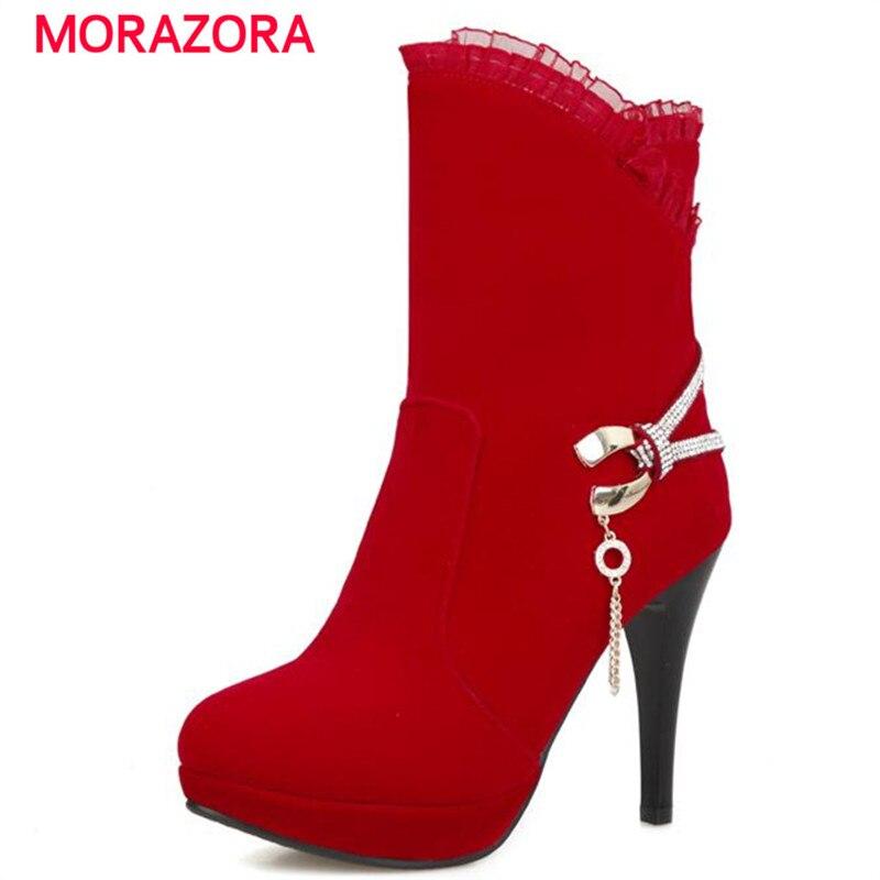 MORAZORA Bride shoes wedding party ankle boots autumn flock rhinestone high heels boots women platform big size boots <br><br>Aliexpress