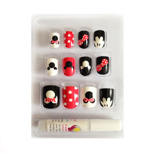 New 12 pieces Mickey Mouse 3D DIY Fashion Cute Style Plastic Art  short Fake false Sticker Nail Tips With Glue Gel [N236]