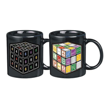 350ML Ceramic Color Change Temperature Magic mug Creative personality hourglass magic cube palm business gift Color Changing mug(China)