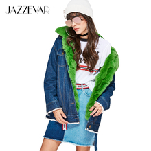 JAZZEVAR new high fashion street women's denim jacket removable real rabbit fur liner and fur collar oversize winter jacket(China)
