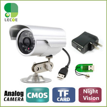CCTV Bullet Outdoor Waterproof DVR USB Camera 600TVL IR NightVision Security Micro SD/TF Card Recorder Camera +Camera Bracket