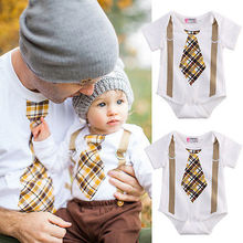 Newborn Infant Baby Boy Clothes Plaid Tie Suspenders Romper Outfits Baby Boy Romper