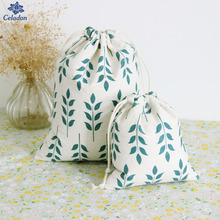 1Pcs 3 Sizes Beam Port Drawstring Cotton Cloth Green Wheat Pattern Gift Candy Bags Storage Bags Soft Small Gift Bags