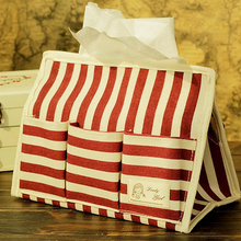 Striped Red Tissue Box Home Car Cotton Fabric Tissue Case Box Container Towel Napkin Papers Bag Holder Home Organizer Decoration(China)