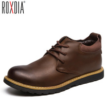 ROXDIA fashion leather autumn men boots snow winter warm mens ankle boot waterproof male shoes 39-44 RXM058