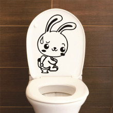 White Rabbit Vinyl Wall Sticker Toilet Decor Home Decoration Bathroom Decor diy Wall Decals Posters For Shop Office Nursery Room